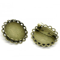 Broche camafeo bronce ribeteado 25 mm ( int 20 mm)