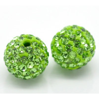 Bola cristales rhinestone 10 mm, color  verde ( 1 ud)