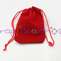 Bolsa joyeria terciopelo rectangular color rojo 70x50 mm (5 uds)