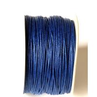 Cordon algodon encerado 1 mm azul marino  (1 metro)