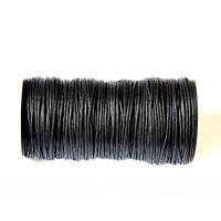Cordon algodon 2 mm color negro ( 1 metro)