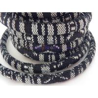Cordón 100% algodón 6,5 mm trenzado étnico gris (1m)