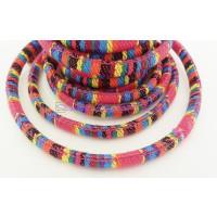 Cordón 100% algodón 6,5 mm trenzado étnico fucsia - 1 metro