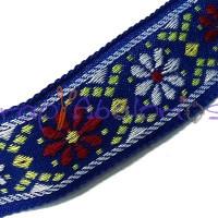 Cordon 100% algodon 28 mm plano étnico azul (1m)