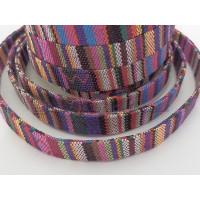 Cordon 100% algodon 10 mm plano étnico violeta  (20 cm)