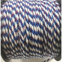Cordon de algodon trenzado 2 mm - Tonos celestes ( 1 m)