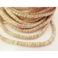 Cordón 100% algodón 5 mm hilos de colores beige- cobre (1m)