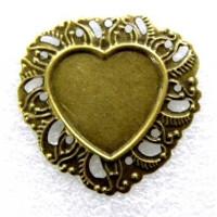 Camafeo laton bronce 35x34 mm corazon ( int 20.5x18 mm)