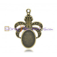 Camafeo  bronce vintage 32x23 mm( 14x10 mm interior)