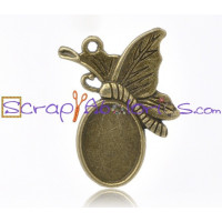 Camafeo oval mariposa bronce 30x20 mm ( int 14x10 mm)