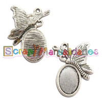 Camafeo oval mariposa plateado 30x20 mm ( interior 14x10 mm)