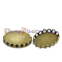 Camafeo bronce ribeteado 19x14 mm ( interior 18x13 mm)