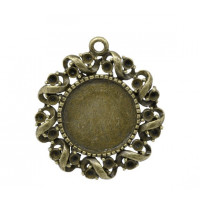 Camafeo bronce redondo rulos 28x25 mm ( int 13.5 mm)