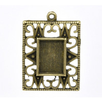 Camafeo bronce cuadrado labrado 34x24 mm ( int 14x10 mm)