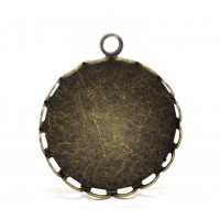 Camafeo laton labrado bronce 25x21 mm. Int 20 mm