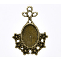 Camafeo bronce  flores 32x23 mm ( int  13.5x9.5mm)