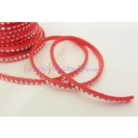 Cordón de antelina 3 mm coral tachuela plateada (1 metro)
