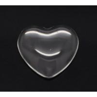 Cabujon cristal transparente corazon 18x17 mm