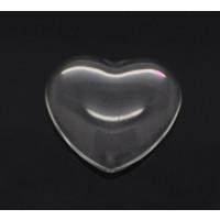 Cabujon cristal transparente corazon 15x14 mm- 1 ud