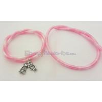 Cordón caucho hueco forrado seda 5 mm bicolor rosa/blanc (48 cm)