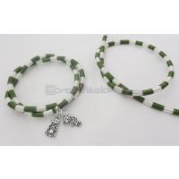 Cordón caucho hueco forrado seda 5 mm bicolor verde/blanc (48cm)