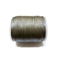 Cordon cuero plata metalizado  1 mm ( 1 metro)