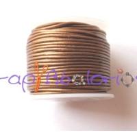 Cordon cuero color oro viejo metalizado  1 mm ( 1 metro)