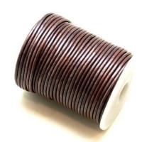Cordón cuero color lila grisaceo metalizado 2 mm ( 1 metro)