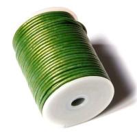Cordón cuero color verde metalizado 2 mm ( 1 metro)