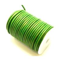Cordón cuero verde metalizado 4 mm ( 1 metro)