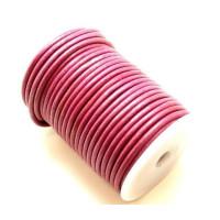 Cordón cuero rosa metalizado 4 mm ( 1 metro)