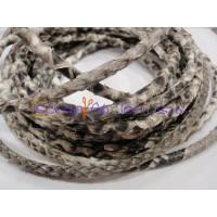 Cuero redondo 5 mm serpiente auténtico color grisáceo (20 cm)