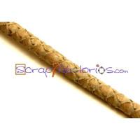 Cuero redondo 5 mm grabado serpiente beige ( 20 cm)