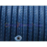 Cuero redondo 5 mm  hueco color azul mar marino (20 cm)