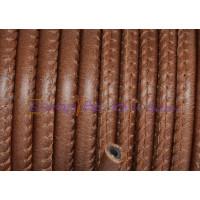 Cuero redondo 5 mm  hueco color marrón (20 cm)
