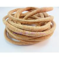 Cordón corcho cosido redondo 5 mm. Color natural  (20 cm)