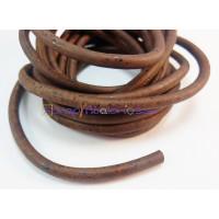 Cordón corcho cosido redondo 5 mm. Color marrón oscuro   (20 cm)