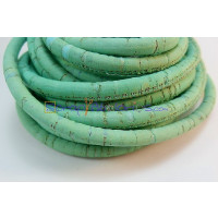 Cordón corcho cosido redondo 5 mm. Color turquesa  (20 cm)