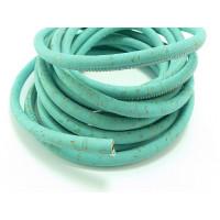 Cordón corcho cosido redondo 5 mm. Color azul  mar (20 cm)