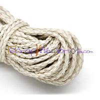 Cordón beige/crema cuero trenzado 3  mm ( 1 metro)