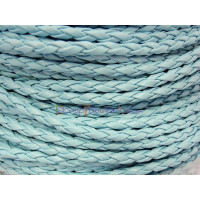 Cordón azul cielo cuero trenzado 3  mm ( 1 metro)