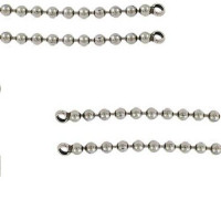 Cadena bolas 4.5 mm bañada plata- Seccion de 45 cm con anillas