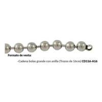 Cadena bolas 8 mm bañada plata- Seccion de 15. 5 cm con anillas