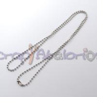 Cadena collar  acero inoxidable bolitas 2,5 mm con cierre - 60 cm