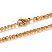 Cadena gargantilla acero inoxidable dorado eslabon 3 mm -  55 cm