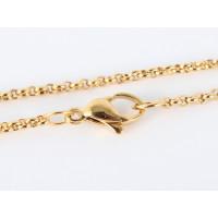 Cadena gargantilla acero inoxidable dorado rolo 2  mm - 45 cm