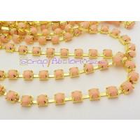 Cadena acero dorado piedra acrílica 6 mm Color SALMON ( 50 cm)