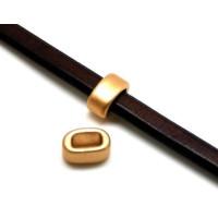 Aro ancho 2 dorado mate ceramica 18x13x9 mm ( cuero regaliz)
