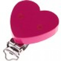 Pinza chupetero CORAZON brillo 43x42 mm - Fucsia 05