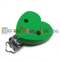 Pinza chupetero CORAZON brillo 43x42 mm - Verde 017